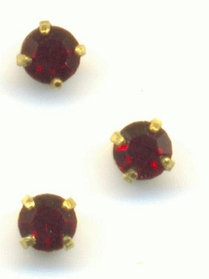 2.5mm Siam Ruby RS In Setting