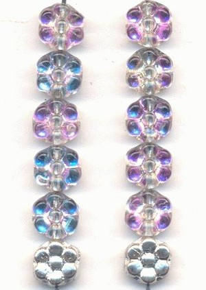 8x4mm Silver Pink Crystal Flower Beads