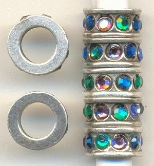 10x5mm Gunmetal Multi-color Rondelles