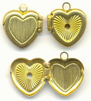 11mm Stamped Heart Brass Lockets