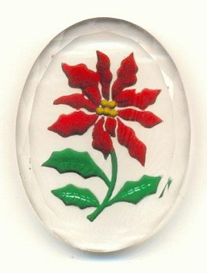 40x30 Clear Reverse Carve Red Poinsettia