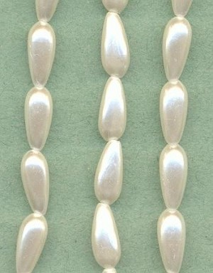 60'' 14x6mm White Plastic Pearl Beads