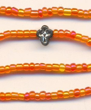 16'' Orange/Pink AB Seed Bead Necklace