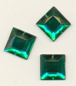 16mm Emerald Square Acrylic Sew On RS