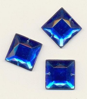16mm Royal Blue Square Acrylic Sew On RS
