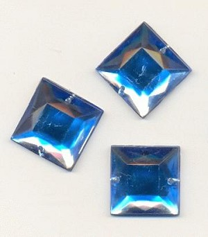 16mm Aqua Square Acrylic Sew On RS