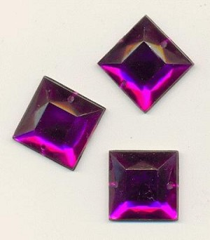 16mm Amethyst Square Acrylic Sew On RS