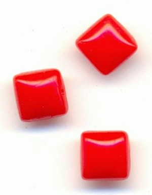 4x4mm Cherry Red Square Moonstones
