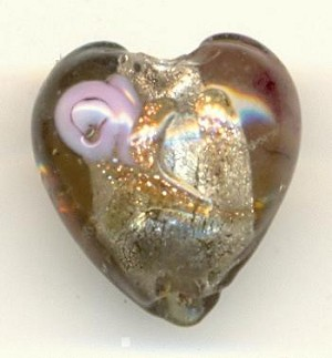 13.5mm Gray Chinese Lampwork Heart