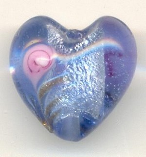 15mm Blue Chinese Lampwork Heart