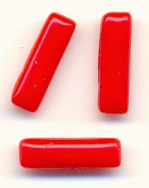 10x3mm Red Coral Baguettes