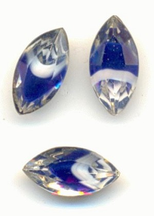 10x5mm Clear/Blue/White Navette Givre