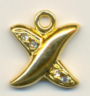 17x15mm Gold Plated Criss-Cross RS Charm