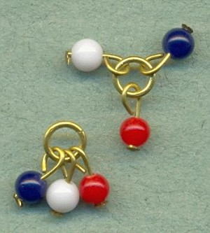 4mm Red/White/Blue Bead Clusters