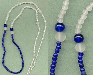 35'' Pre-Strund Clear/Blue Glass Beads