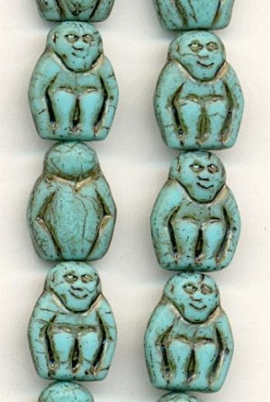 14mm Turquoise/Brown Monkey Beads