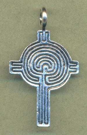 Antique Silver Labryinth Cross