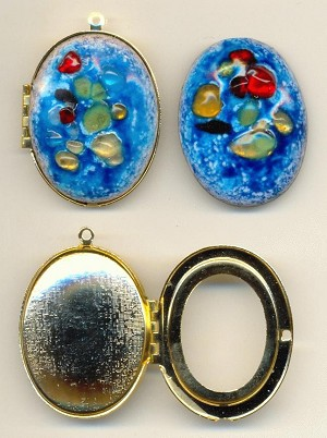 43mm by 36mm Blue Gold Plated Locket