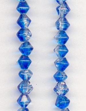 4mm Blue Blue/Clear Crackle Bicone