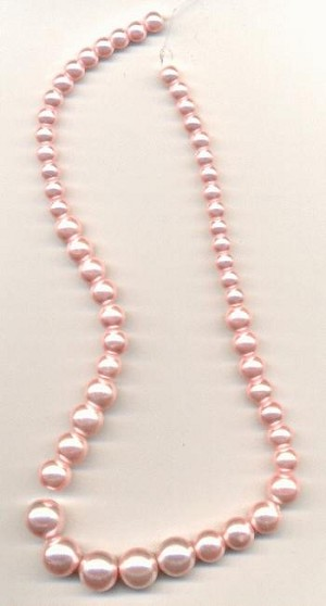 15'' Pale Pink Graduated Glass Pearls
