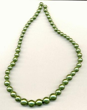 15'' Green Graduated Glass Pearls
