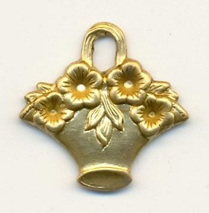 22mm Stamped Brass Flower Baskets