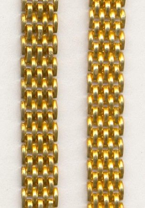 6.3mm Wide Flat Brass Brick Mesh Chain