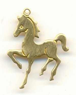 2x19mm Stamped Brass Horse Charms