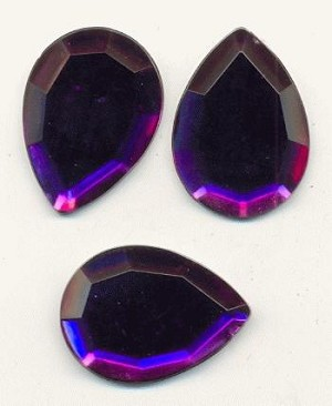 25x18 Acrylic Purple Pear Rhinestones