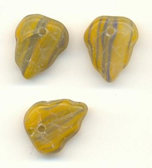 11x9mm Opaque Mustard/Blue Leaf Beads