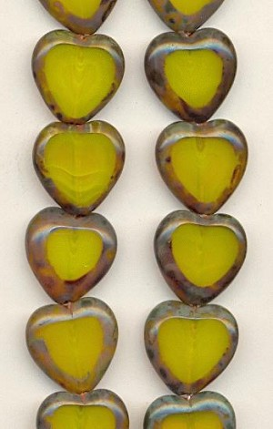15mm Milky Yellow/Brown Heart Beads