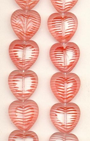 15mm Transparent Clear/Red Heart Beads