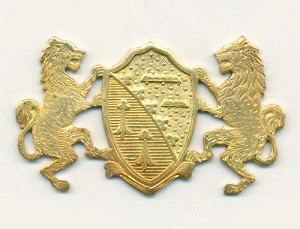 49x28 Brass Crest with 2 Lions Stampings