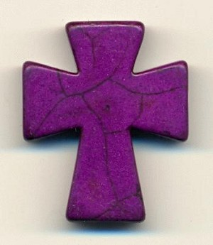 36x30mm Purple Magnesite Cross Bead