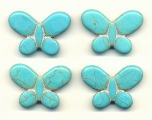 25x35mm Turquoise Magn. Butterfly Bead