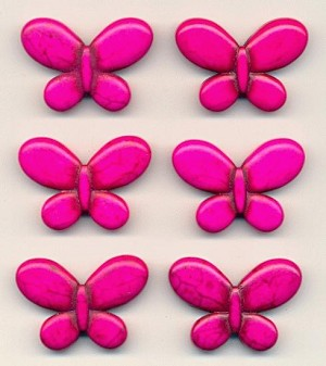 25x35mm Pink Magnesite Butterfly Beads
