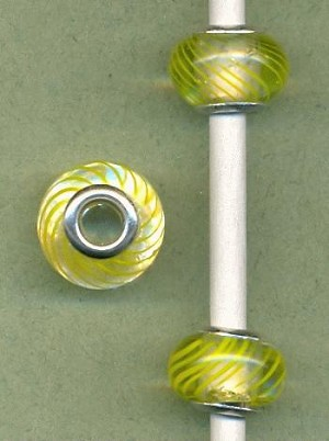14x9mm Clear/Yellow Striped Europea Bead