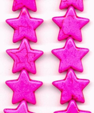 20mm Hot Pink Magnesite Star Bead