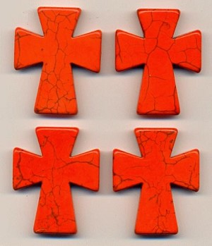 50x40mm Orange Magnesite Cross Bead