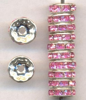 10mm Silver Rose RS Rondelles