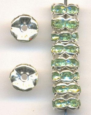 7mm Silver/Peridot RS Rondelles