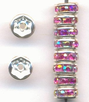 5mm Silver/Fuchsia AB RS Rondelles