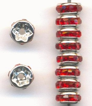 5mm Silver/Red Rondelle