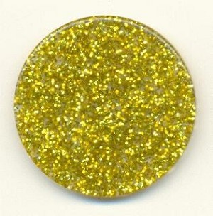 34mm Clear Disk with Gold Glitter