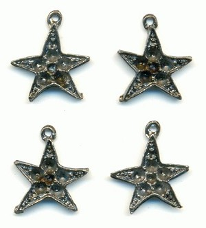 21x18mm Die Cast Gunmetal Star Charms