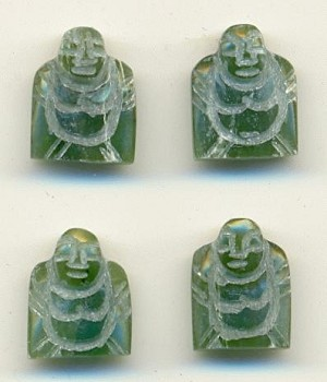 12x10mm Carved Jade Buddha Half-Drilled