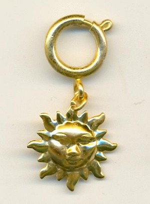 19mm GP Sun Charm with Spring Clasp
