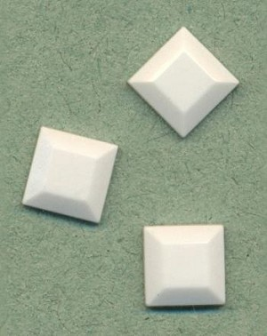 8mm White Square Stone