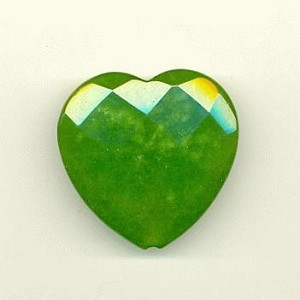 40mm Faceted Green Jade Heart Bead