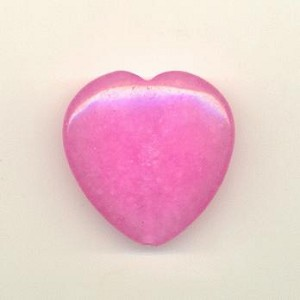39mm Smooth Pink Jade Heart Bead